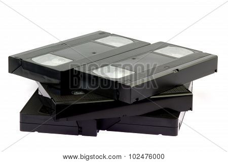Vhs Video Tape Cassettes On White