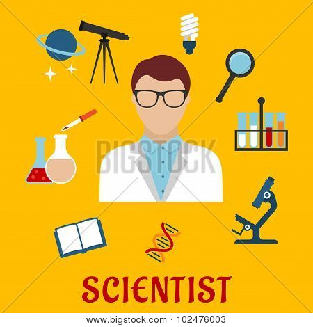 Scientist and laboratory equipment flat icons