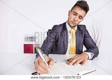 Businessman taking some notes on his notepad at his office