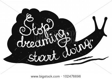 Stop Dreaming Start Doing Black-and-White Banner
