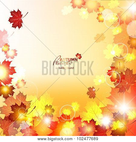 Orange falling leaves. Natural vector illustration beautiful