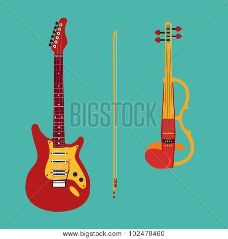 Set of string instruments. Electric violin, electric guitar. Iso