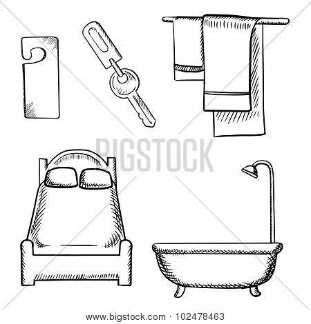 Key, door tag, bed, bathroom and towels sketch