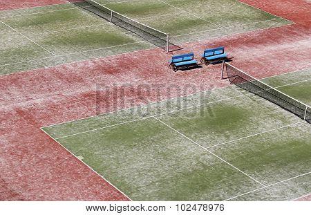 Empty Hard Green Tennis Court With Net