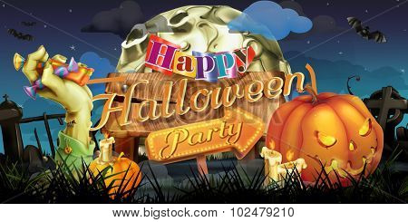 Happy Halloween party, zombie vector background