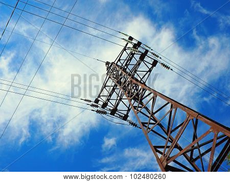 Upward View On Power Lines