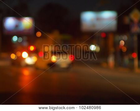Abstract Night Scene With Blurred Headlights