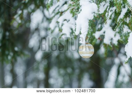 Outdoor Christmas beige and silver bauble with sparkles ornament design on snowy spruce twig
