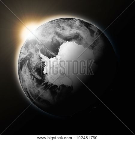Sun Over Antarctica On Dark Planet Earth