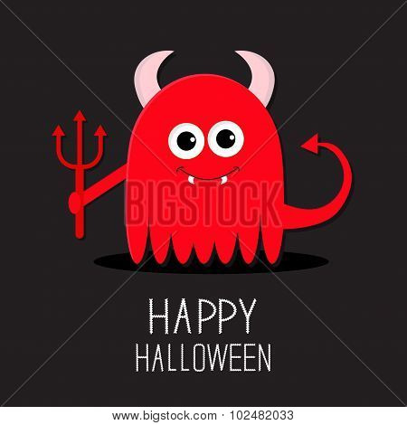 Cute Red Evil Monster With Horns, Fangs And Trident. Happy Halloween Card. Flat Design Black Backgro