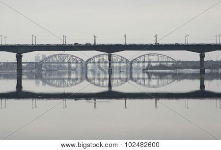 Two Bridges Across The Great River - Railway And Road Bridge