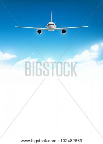 vector airplane above the clouds
