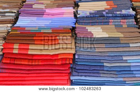 Many Fabrics For Sale In Italian Shop