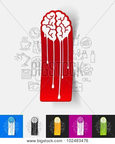 melting paper sticker with hand drawn elements