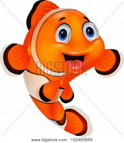 Happy cartoon clown fish over white background