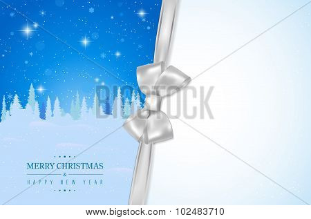 Merry Christmas Card With Winter Night Landscape And Silver Bow