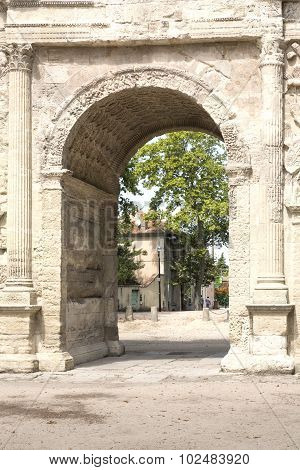 Detail of the Arc de triumph in Orange city, France