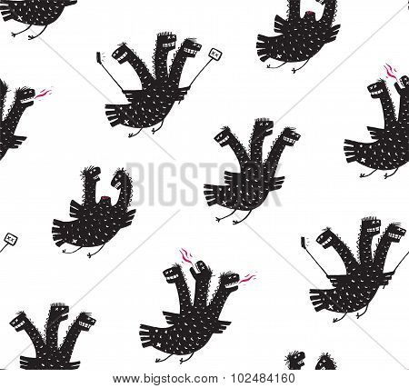 Funny Comic Humorous Seamless Pattern Dragon Hand Drawn Print Design