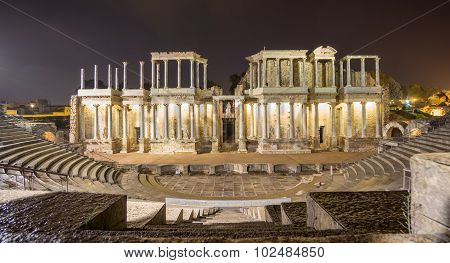 The Roman Theatre in Merida at night, Spain. Front View