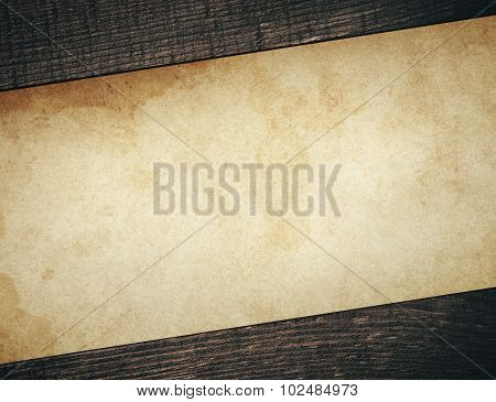 Vintage dirty paper with old wooden planks