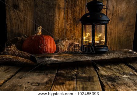 Halloween Pumpkin Moody Picture With Lantern