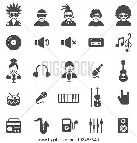 Music black icons set.Vector