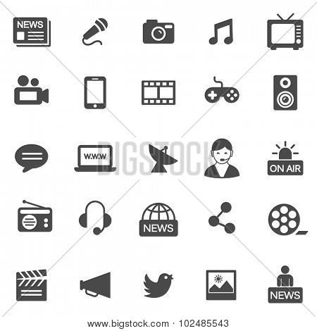 Media black icons set.Vector