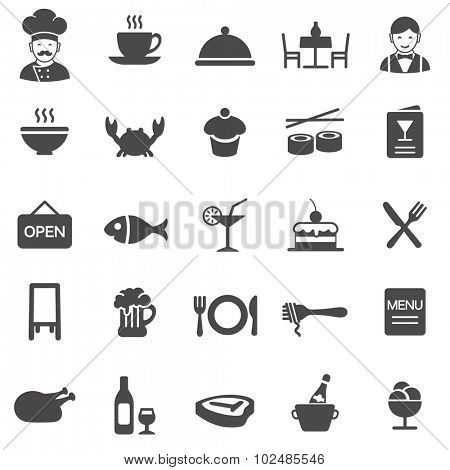 Restaurant black icons set.Vector
