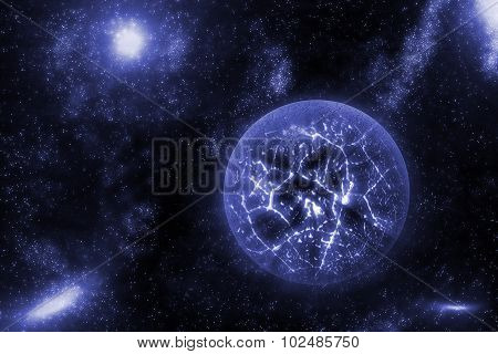Image Of Crashing, Exploding Planet  In Deep Space, Universe With Star Field Background. Computer Ge