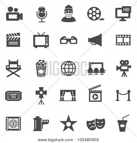 Movie black icons set.Vector
