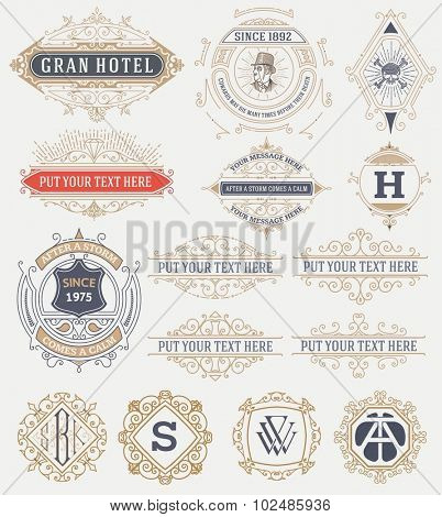 15 Vintage labels and banners. Vector