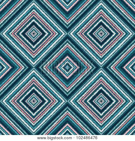Ethnic Rhombus Blue Tribal Seamless Pattern