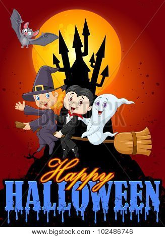 Cartoon children and ghost with castle and moon background