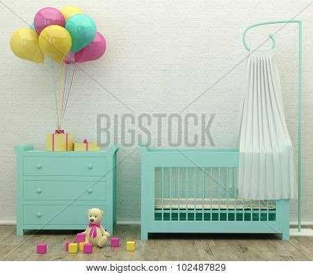 Kids Bed Room Mint Interior 3D Rendering Image