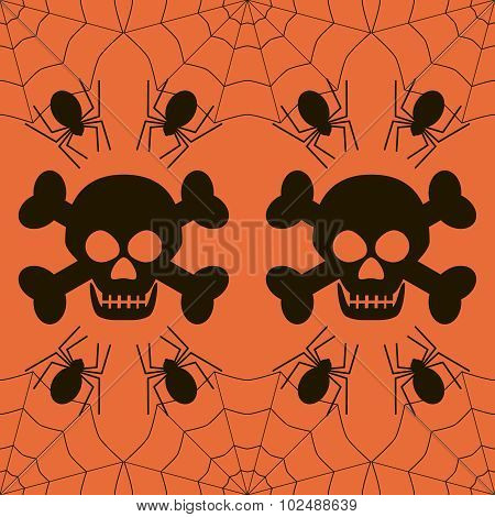 Seamless Halloween Pattern Of Skulls And Spiders