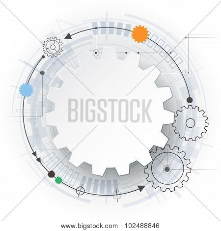 Vector futuristic technology 3d white paper gear wheel on circuit board