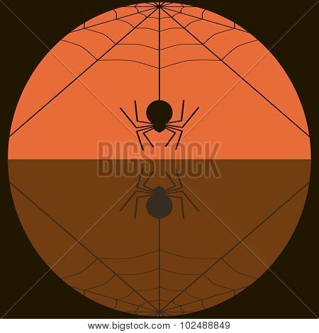 Fat Spider Spinning Web Background In Black And Orange Colors