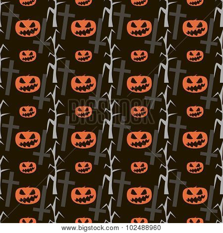 Seamless Halloween Pattern Of Evil Pumpkins, Dead Trees And Crosses