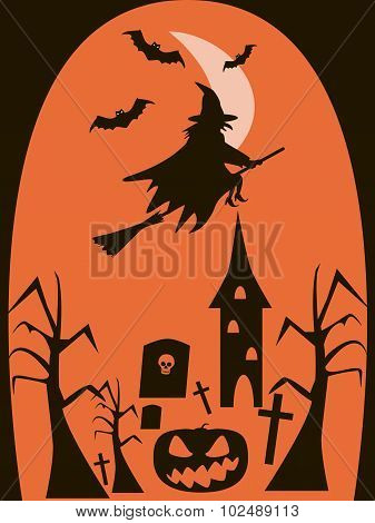 Halloween Background Of Witch Flying On Broomstick In The Night