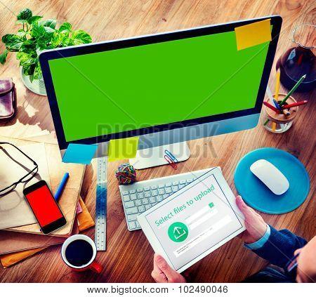 Businessman Digital Devices Web Uploading Working Concept