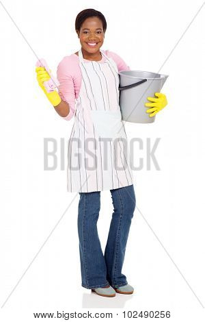 beautiful african cleaner holding a bucket and a cloth on white background