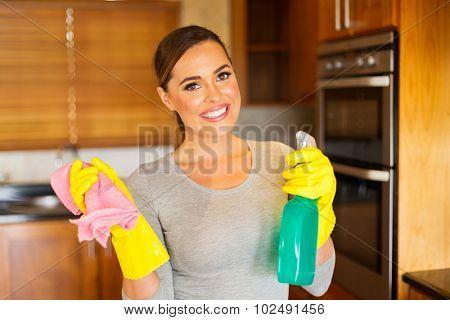 portrait of pretty woman doing housework