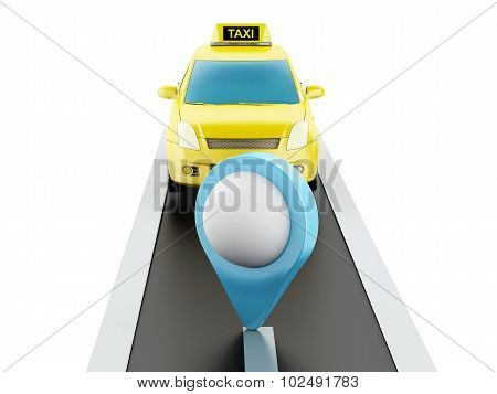 3D Taxi Car On The Road.