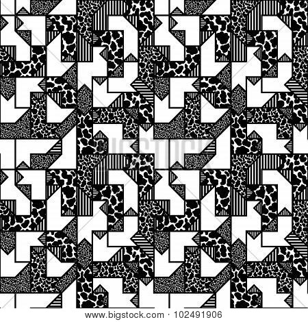Abstract Black And White Geometric Pattern In Style Of The 80S