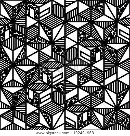 Abstract Black And White Cube Geometric Pattern In Style Of The 80S