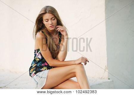 posing beautiful young girl
