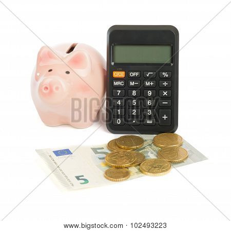 Calculator with piggy bank