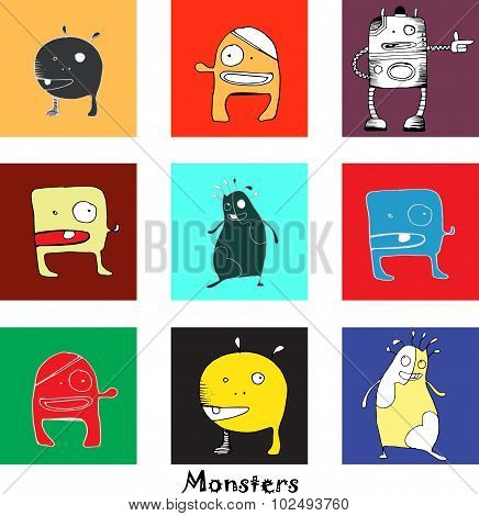 vector pattern with funny monsters