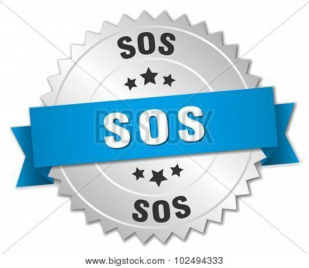 Sos 3D Silver Badge With Blue Ribbon