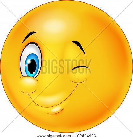 Happy emoticon smiley with eyes blinking